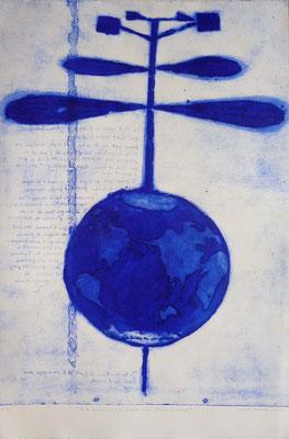 """Vincent DEZEUZE, """"De la résistance de l'air"""", Gravure, 120x80 cm, 2015"""