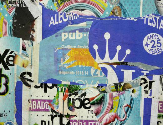 """Christian GASTALDI, """"SITGES 03)"""", Affiches déchirées collées sur toile, 89x116 cm, 2014"""