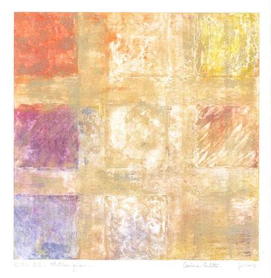 """Caroline ROCHETTE, """"Matières grises-EUB9"""", collagravure, 48x47 cm, 2019"""