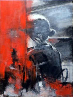 """Cathy LEBRET, """"Le mur de la timidité"""", Acrylique, 80x60 cm, 2018"""