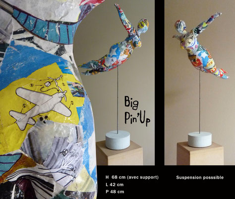 "Laetitia GAVINI, ""Big Pin'Up-Flying Pin'Up"", Bandes plâtrées, papiers, 68x42x48 cm, 2019"