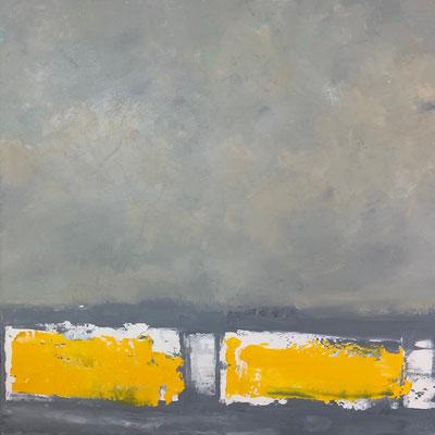 "BRU,""soleil et brouillard"",huile sur toile,90/90,2017"
