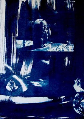 """Christine COUGOULE, """"Immobile"""", Acrylique et encre, 50x70 cm"""