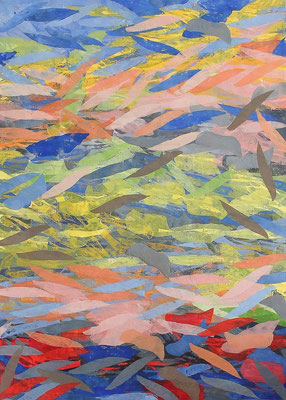 """Carola MALLOL BOLTON, """"Reflets"""", Linogravure, encre, papier 100% coton, marouflé sur bois, 70x50 cm, 2019"""