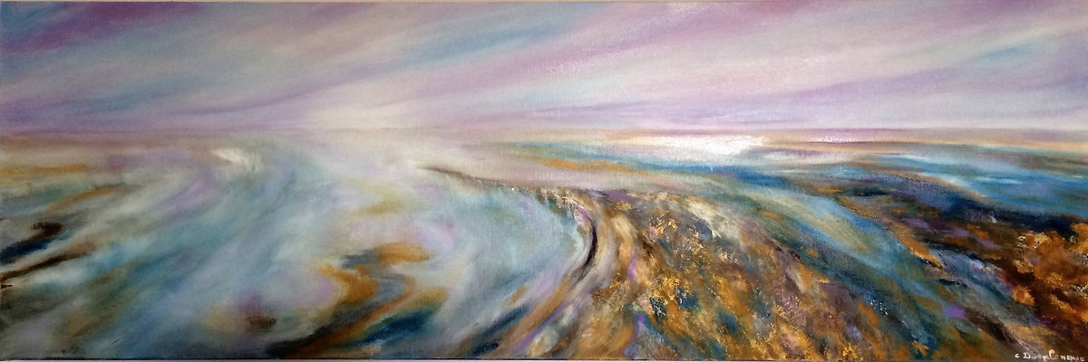 "Christine DESPLANQUE, ""Promenade Mauve"", Huile sur toile, 40x120 cm, 2020"