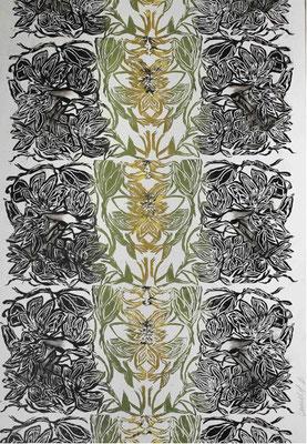 """Carola MALLOL BOLTON, """"Paysage sauvage 4"""", Linogravure, encre, marouflé sur bois, 70x50 cm"""