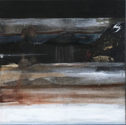 """Christine COUGOULE, """"Misato"""", Acrylique et encre, 30x30 cm"""