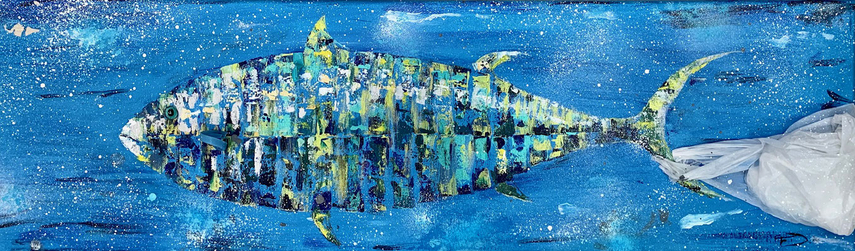 "Françoise DAGORN, ""Tuna in trouble"", Acrylique sur toile, 80x30 cm, 2019"