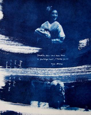 """Christine COUGOULE, """"Geisha"""", Acrylique et encre, 50x70 cm"""