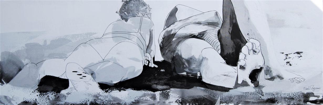 """Nicole PAGANO, """"Duo de plagistes"""", Acrylique, 50x150 cm, 2018"""
