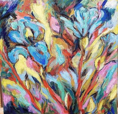 "Carola MALLOL BOLTON, ""iris"", huile sur toile, 30x30 cm, 2019"