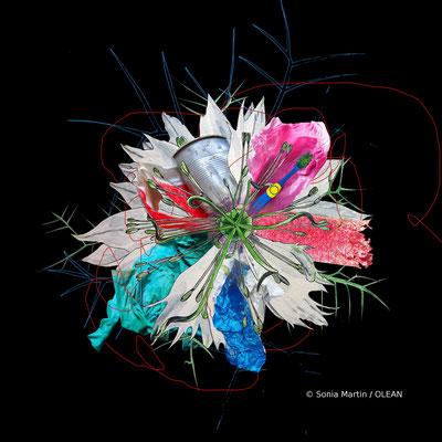 """OLEAN, """"Nigération ( Mi Nigelle Mi Altération)"""", Aquarelle, encre, photographie, 50x50 cm, 2020"""