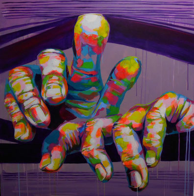 """FIKAS, """"Paranoïac"""", Acrylique, 100x100 cm, 2019"""