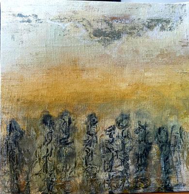 """Elipi, """"Quelque part"""", Acrylique, encre sur toile, 30x30 cm, 2019"""