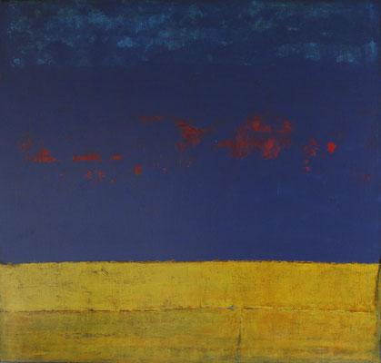 """Béatrice GAY, """" Yellowblue"""", Techniques mixtes sur lin, 100x100 cm, 2020"""
