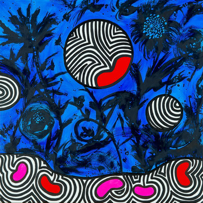 "Virginie GUIDEE, ""Phosphorescence"", Huile sur toile, 80x80 cm, 2020"