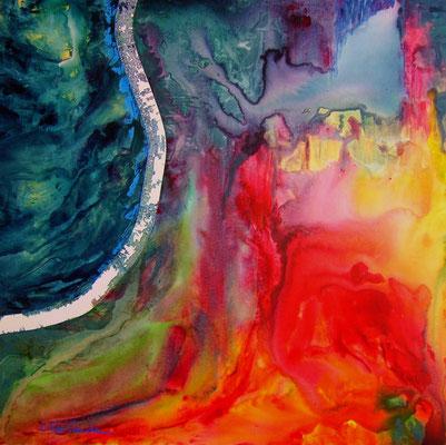 """ALEX'SANDRA, """"Présences #6-80"""", Techniques mixtes sur toile, 80x80 cm"""