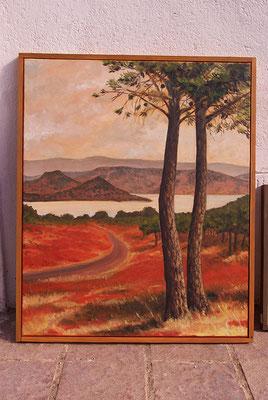 """Hilkka SILVA, """"Le Lac du Salagou"""", Huile sur toile, 76x63 cm, 2013"""