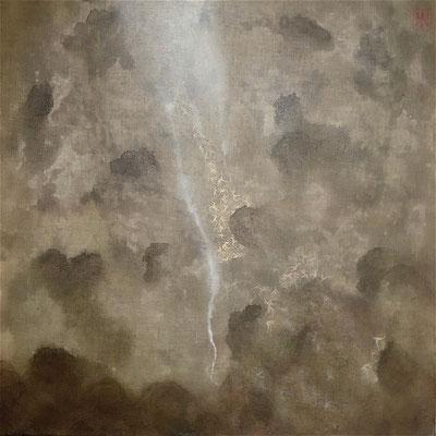 """MAHI, """"ECLAIRCIE"""", Techniques mixtes sur toile , 80x80 cm, 2017"""