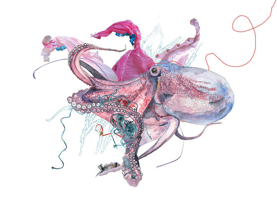 """OLEAN,""""Pieusidu"""",aquarelle encre de chine photo,50/70cm,2019"""