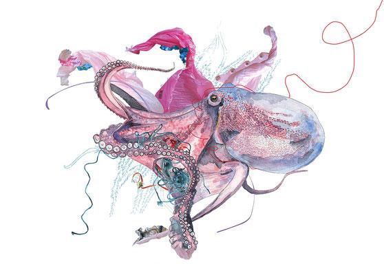 """OLEAN, """"Pieusidu (Mi-Pieuvre Mi-Résidus)"""", Aquarelle, encre de chine, photographie, 50x70 cm, 2019"""