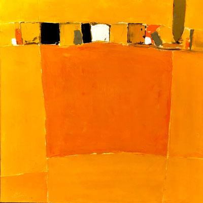 "Gérard BRU, ""Nature jaune"", Huile sur toile, 70x70 cm, 2018"