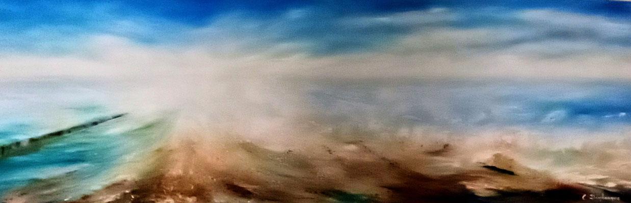 """Christine DESPLANQUE, """"Mer Déchaînée"""", Huile sur toile, 40x120 cm, 2020"""