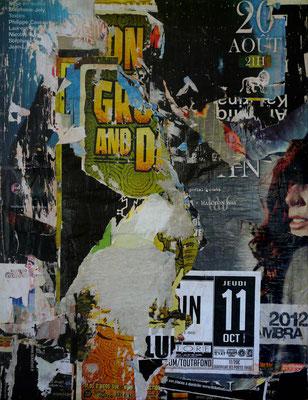 """Christian GASTALDI, """"MPL29"""", Affiches déchirées collées sur toile, 116 x 89 cm, 2014"""