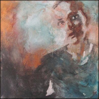 """Aurélie SALVAING, """"L'attente"""", Techniques mixtes, 100x100 cm, 2018"""