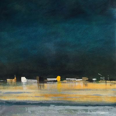 """Gérard BRU, """"les etangs"""", Huile sur toile, 70x70 cm, 2018"""