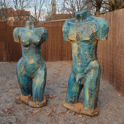 Paar von der Eiche, Ölfarbe, h. 170 cm