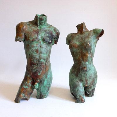 """""""Torsi Paar""""  Bronze patiniert, h. 27 cm"""