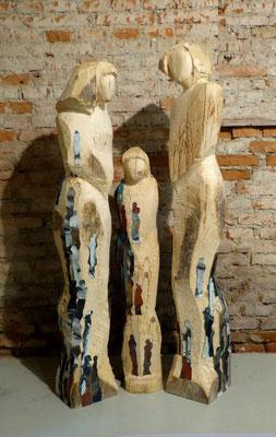 """""""Wir sind aus einem Holz geschnitzt""""  antiker Holzbalken, Mischtechnik, h. 170 cm"""