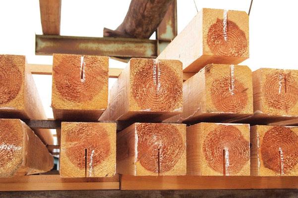 乾燥中の構造材