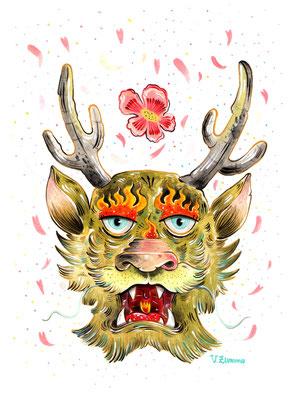 """SOLD - """"Non scordare: noi camminiamo sopra l'inferno,  guardando i fiori."""" Kobayashi Issa - Acrylic on Torchon paper 270 gr, 18x24 cm, 2019"""