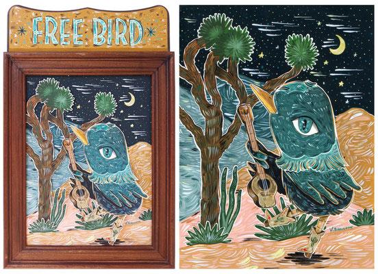 Free bird - Acrylic on Torchon paper 270 gr, 18x24 cm, 2020