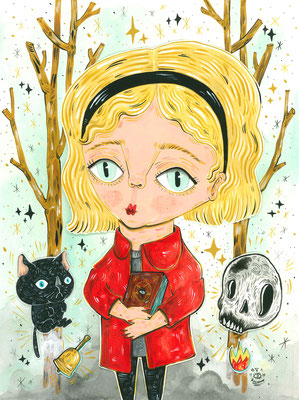 """Tribute to the series """"The chilling adventures of Sabrina"""" -  Acrylic on Torchon paper 270 gr, Assemblage in layers, 24x32 cm, 2020"""