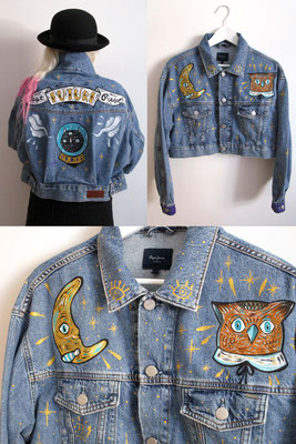 Hand painted on denim jacket in collaboration with Pepe jeans London - Rome - store via del Corso