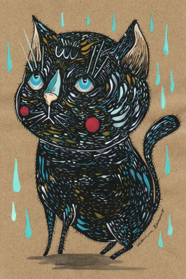 SOLD - No bad luck - Acrylics on paper - 15,6x23,3 cm - 2018