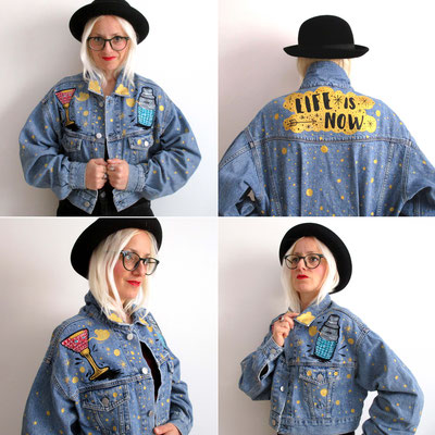 Hand painted on denim jacket in collaboration with Pepe jeans London (work on commission) - Rome - store via del Corso