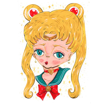 """Tribute to the manga """"Sailor Moon"""" - Acrylic on Torchon paper 270 gr, 21x29,7 cm, 2020"""