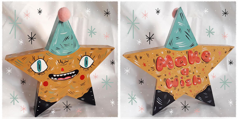 SOLD - Make a wish - Acrylic on wood - 17,7x17,7 cm - 2020 (front/back)