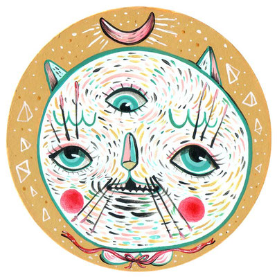 SOLD - Cat Power - Acrylic on board - 4″ tondo - 2017 - For the 5TH annual coaster show at La luz de jesus gallery , Los Angeles