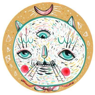 SOLD - Cat Power - Acrylic on board - 4″ tondo - 2017 - For the 5TH annual coaster show at La luz de jesus gallery , Los Angeles