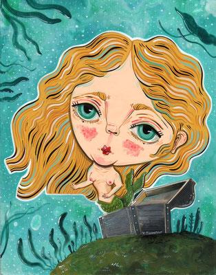 Save the mermaid - Acrylic on wood - 15,5x20,5 cm