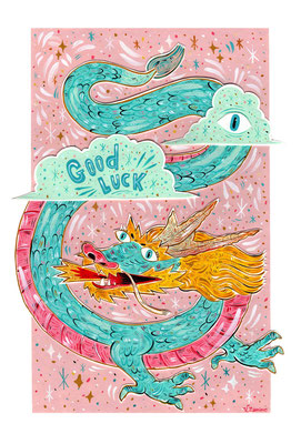 Fortune Dragon - Acrylic on Torchon paper 270 gr, Assemblage in layers, 23,6x35,3 cm - 2021