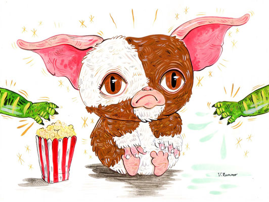 """Poor Gizmo, tribute to the movie """"Gremlins"""" -  Acrylic on Torchon paper 270 gr, 24x18 cm, 2020"""