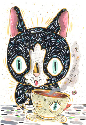 SOLD My tea it's better tha yours - Acrylic on Torchon paper 270 gr, 10,3x14,8 cm, 2020