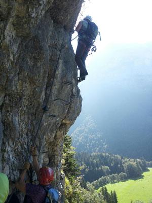 I glob des isch die schwierigste Stelle vom Klettersteig. Aber o koa Problem...