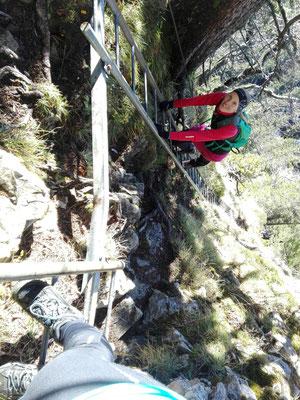 Die einfachen Leitern auf den letzten Metern zum Bocksberg